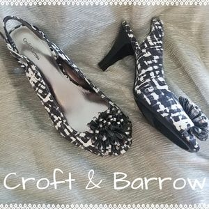 Croft & Barrow Sweet Slingback Heels with Pompoms